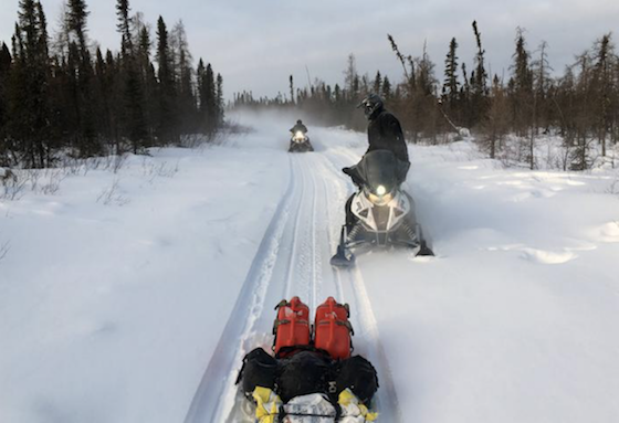 The trail to Churchill, Man., followed a variety of routes, including groomed trails, trapper trails and power line right of ways. (Photo courtesy of Rob Hallstrom)