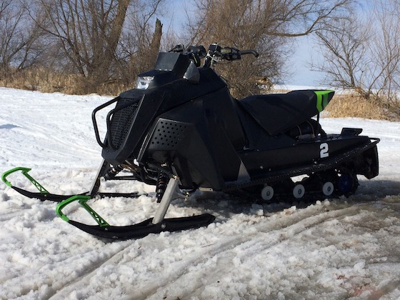 """Concepts of what a 65hp class snowmobile should be were built and shelved over the years, including this one which tried to encompass a """"do-it-all"""" snowmobile for trail riding and utility. It also broke the internet circles when it was seen in some patent drawings."""