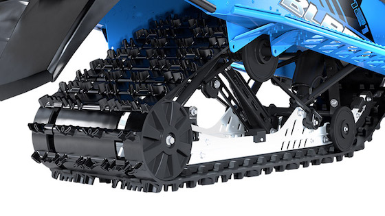 A look at the 121x1-inch lug track and Slide Rail Suspension on the Blast ZR that contributes to the major fun factor of riding this snowmobile