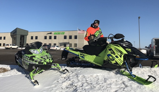 Cory and Kale (seated) start their day ride at the AC Engine Facility in St. Cloud, Mn and head to Sauk Center to Country Cat
