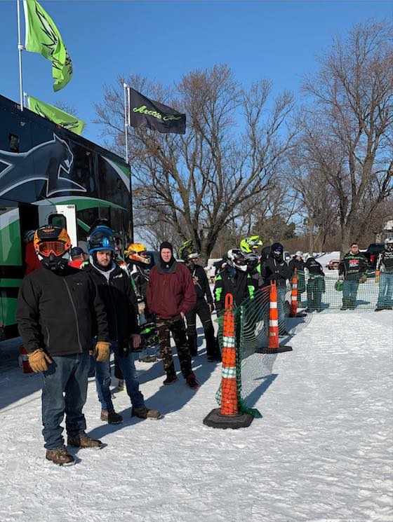 Customers lined up to demo ride the new 2021 Arctic Cat Snowmobiles at Country Cat