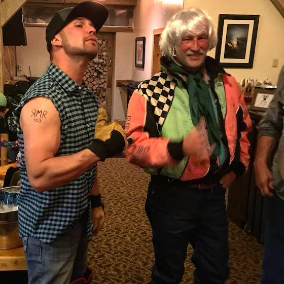 """At an Arctic Cat Photoshoot in Togwotee, Dave (L) dressed up as Rob, and Rob (R) dressed up as their hero, Rex """"The Silver Fox"""" Hibbert."""