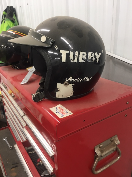 A helmet wore by Tubby Lund which matches his 74 El Tigre Cross Country race sled.