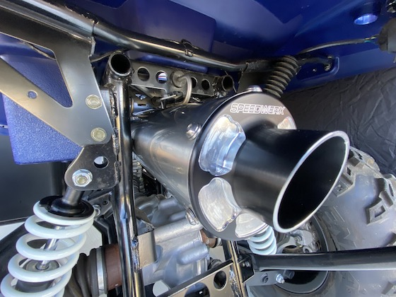Speedwerx stainless steel slip-on exhaust is definitely eye and ear candy.