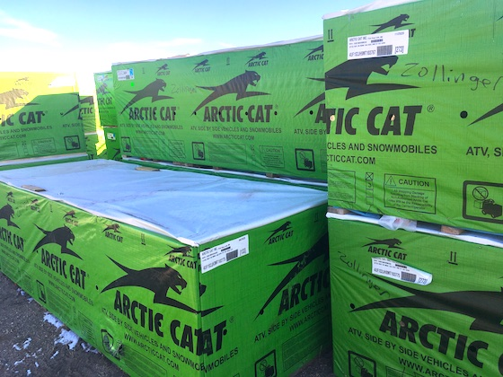To me, this image never gets old. Seeing the stacks of race sleds waiting for pick-up or shipping to Team Arctic racers. Labeled here, are a few for western Team Arctic hillclimb racers, Zollinger Racing