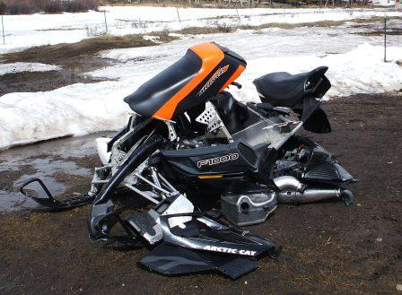 This crashed Arctic Cat F1000 is for your viewing pleasure