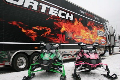 The Sportech race hauler and race sleds