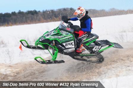 Ryan Greening won Semi Pro 600 with a fancy blue shirt