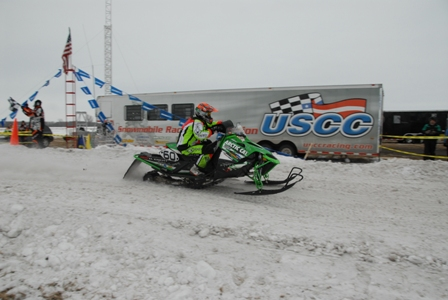 Arctic Cat's Dan Ebert winning the I-500