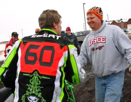 One of the first to congratulate Dan Ebert upon winning the I-500 in 2010