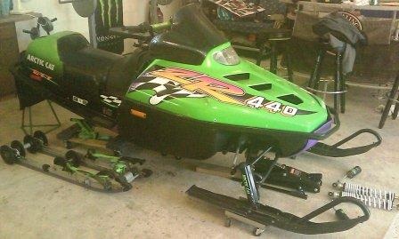Shane's '96 Arctic Cat ZR 440, prior to the 20-in. riser install