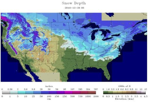 Snow depth 12-28-10